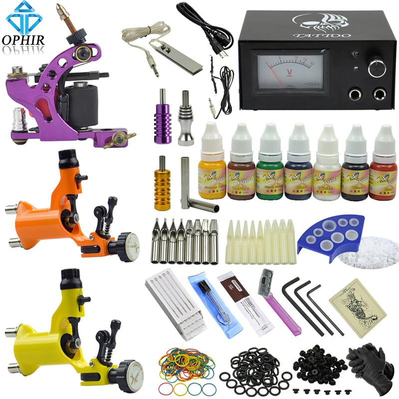 OPHIR PRO Complete Tattoo Kit Dragonfly Rotary Tattoo Machine Guns 7 Colors  - US $83.93