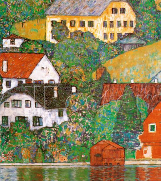 Modern landscape art reproduction houses at unterach for Reproduction homes
