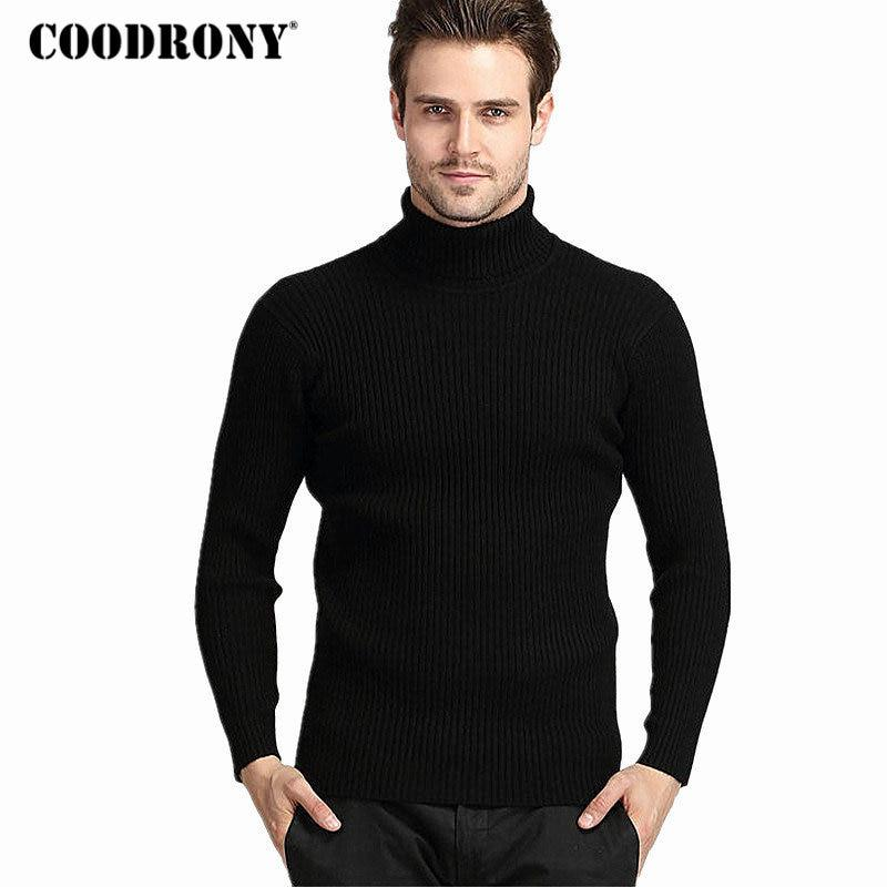 COODRONY Winter Thick Warm 100% Cashmere Sweater Men Turtleneck Brand