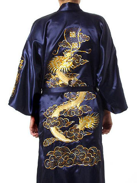Plus Size Chinese Men Embroidery Dragon Robes Traditional Male Sleepwear