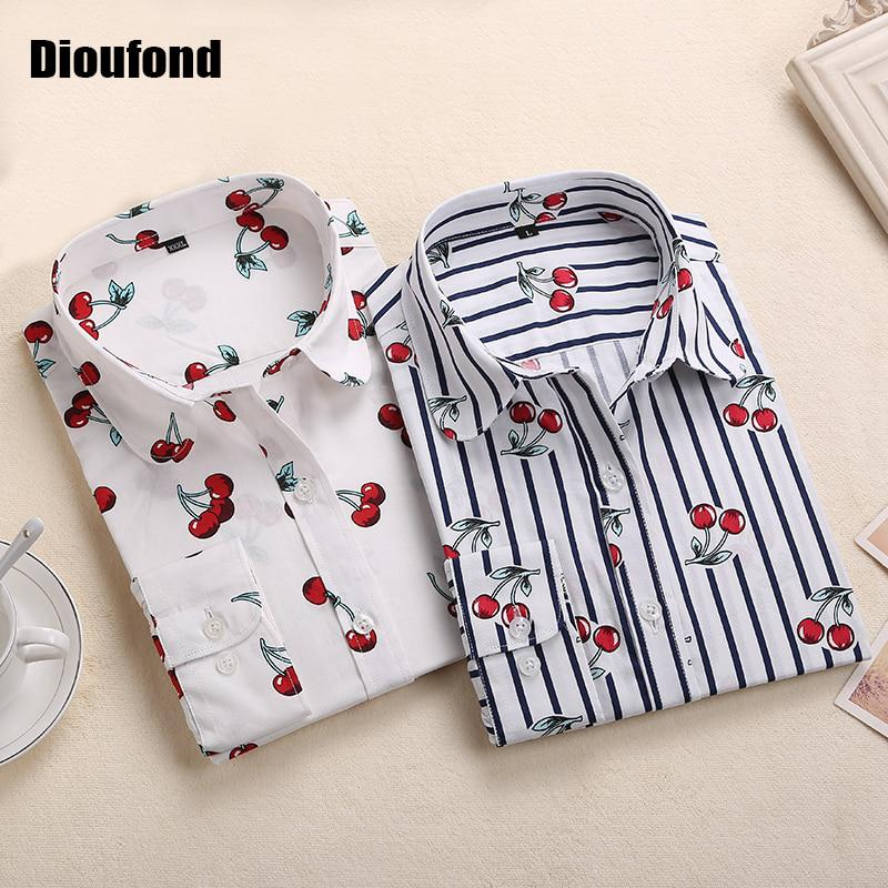 Dioufond New Floral Long Sleeve Vintage Blouse Cherry Turn Down