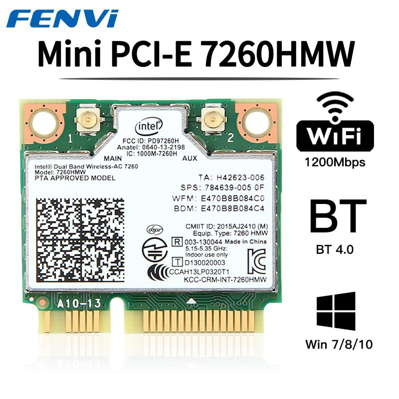Fenvi Dual Band Wireless Wifi Tarjeta Intel AC7260 7260HMW ac