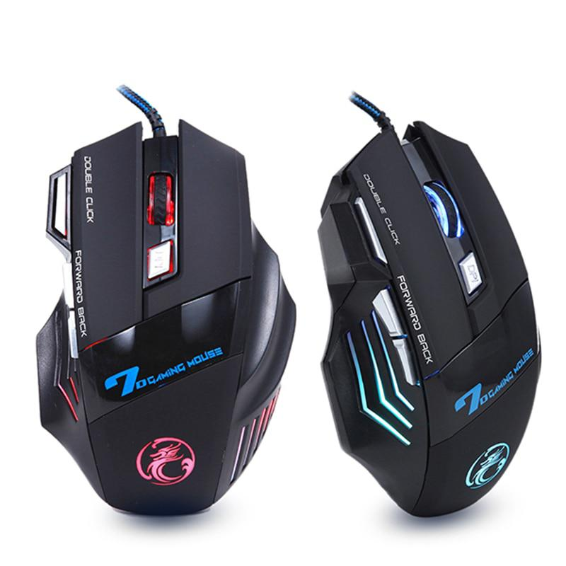 Professional Wired Gaming Mouse 7 Button 5500 DPI LED Optical