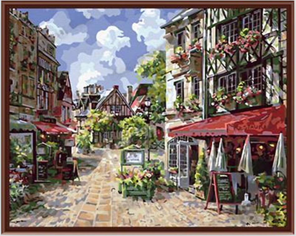 Caen france pictures 40x50cm coloring by numbers oil Old home interior pictures value