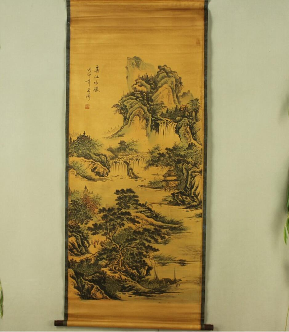 ANTIQUE CHINESE WATERCOLOR&INK ON PAPER SCROLL PAINTING OF