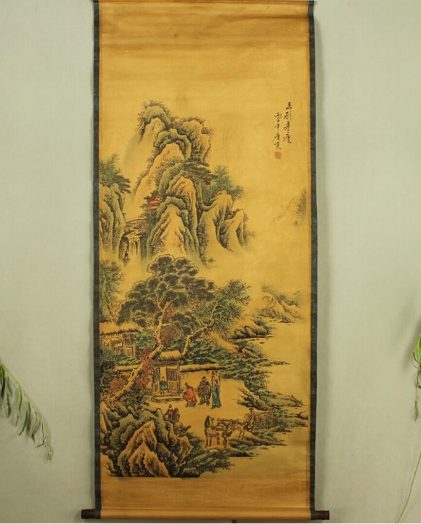 Antique Chinese Scrolls: Antique Painting Traditional Chinese Zhuge Liang Three