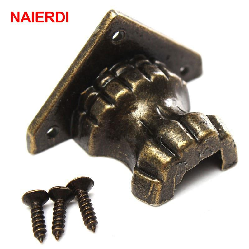NAIERDI 4pcs Antique Foot Brass Jewelry Wood Box Decorative Feet