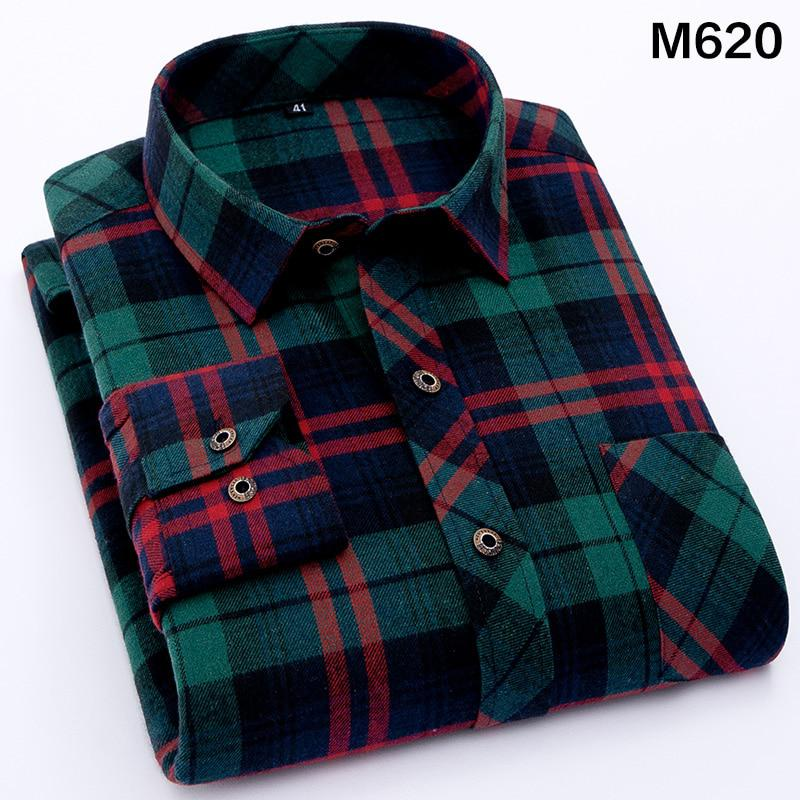 2017 New Autumn Brand Men's Plaid Shirt Male Warm Long