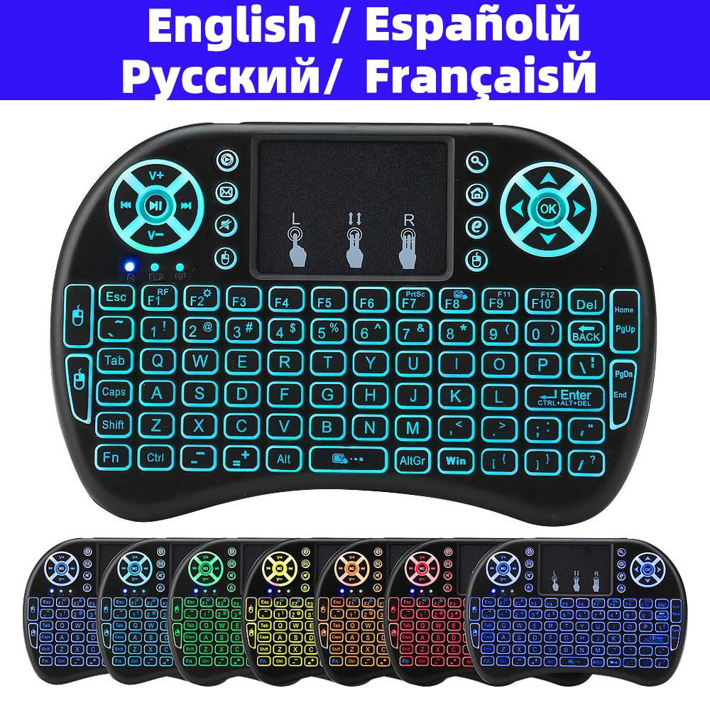 Original Normal & Backlit i8 Mini Wireless Keyboard with Russian