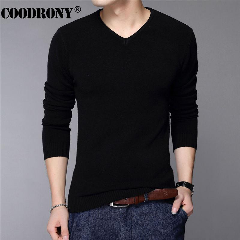 COODRONY Casual Slim Fit Pull Hommes Classique Pur Noir Pull
