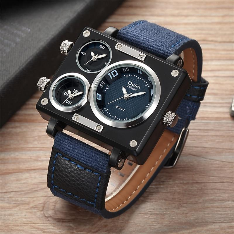 Oulm Fabric Strap Male Square Watch Mens Watches Top Brand