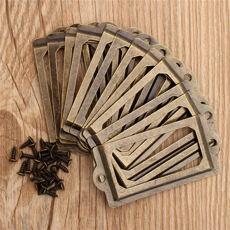 12Pcs Antique Brass Metal Label Pull Frame Handle File Name