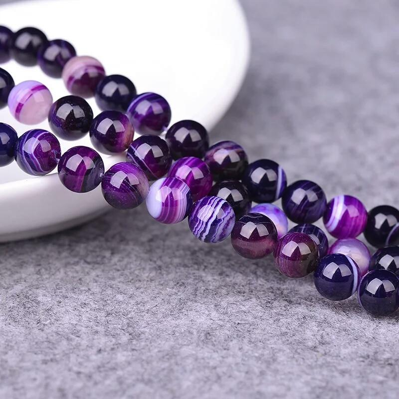 Wholesale Natural Purple Banded Agat Natural Stone Round Beads For