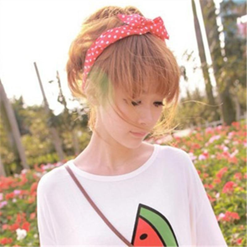 1Pcs Cute Korean Dots Bunny Rabbit Ear Ribbon Headwear Hairband