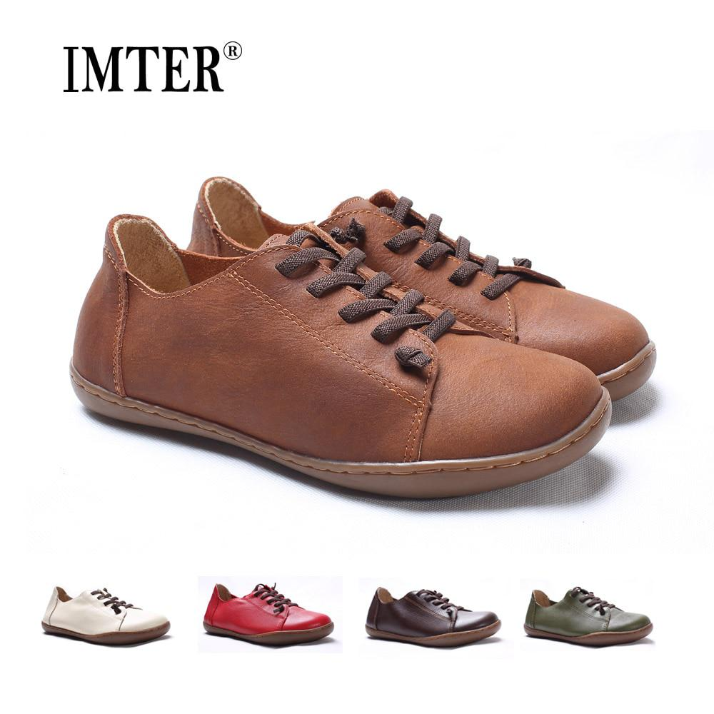 (35-42)Women Shoes Flat 100% Authentic Leather Plain toe Lace