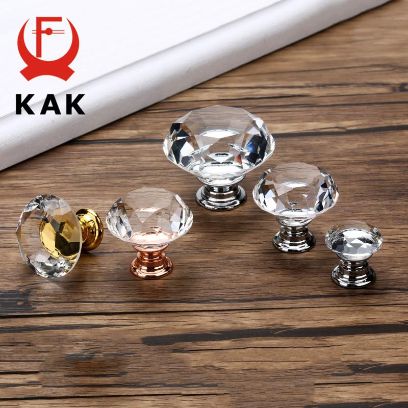 KAK 20-40mm Diamond Shape Design Crystal Glass Knobs Cupboard Drawer