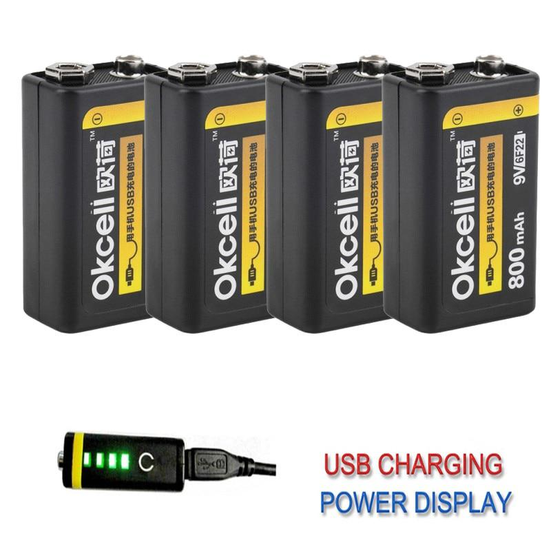 High Quality OKcell 9V 800mAh USB Rechargeable Lipo Battery for