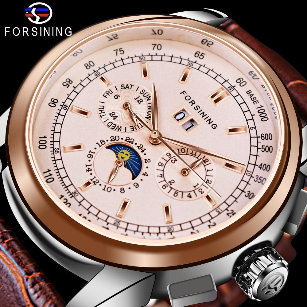 Forsining Moon Phase Shanghai Movement Rose Gold Case Brown Genuine