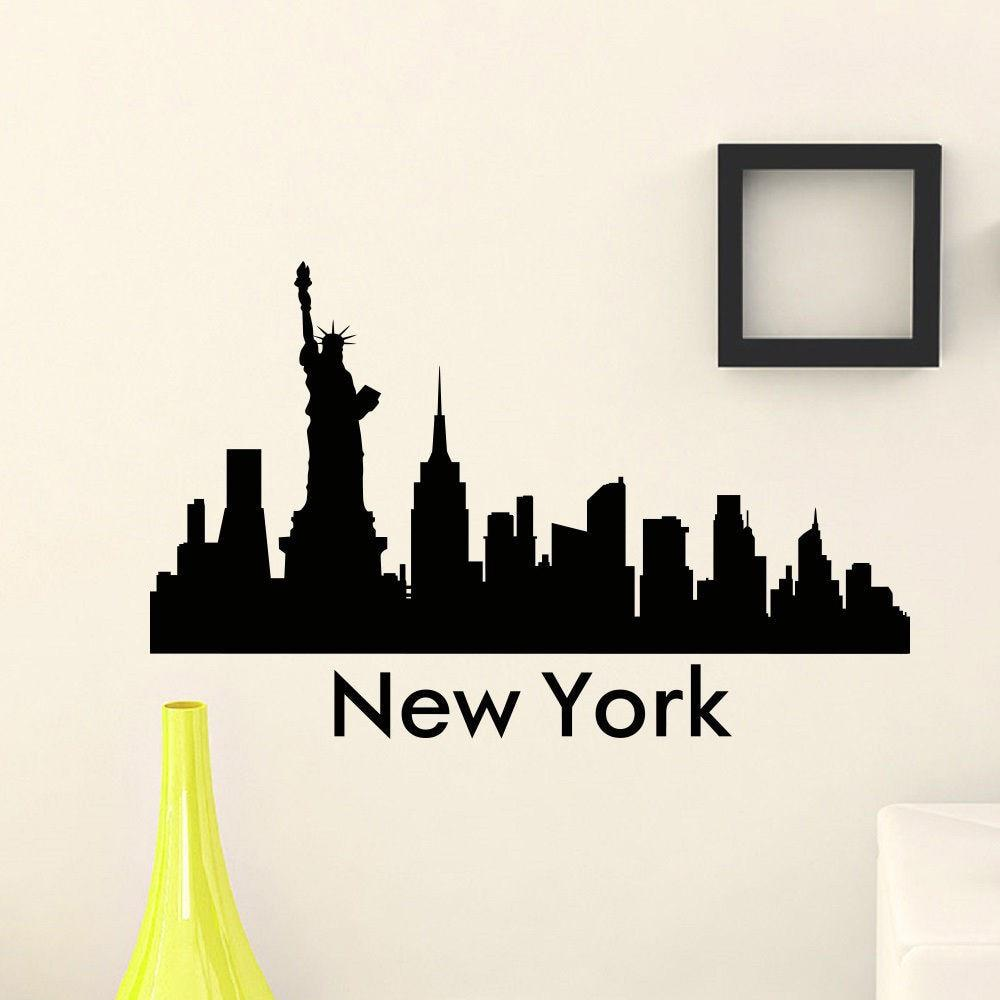 free shipping the wall sticker vinyl art mural new york city skyline