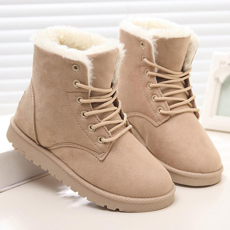 Women Boots Snow Warm Winter Boots Botas Lace Up Mujer