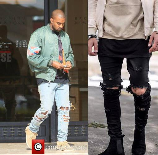 Kanye West Skinny Ripped Jeans For Men Male Black Motorcycle