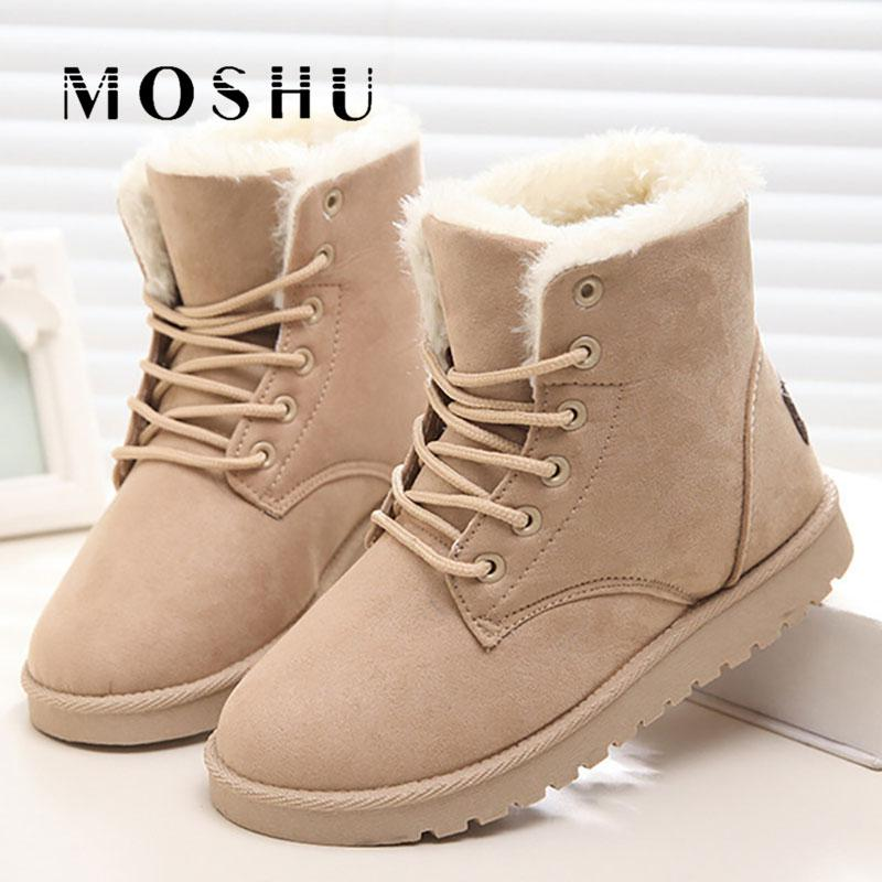 Classic Women Winter Boots Suede Ankle Snow Boots Female Warm