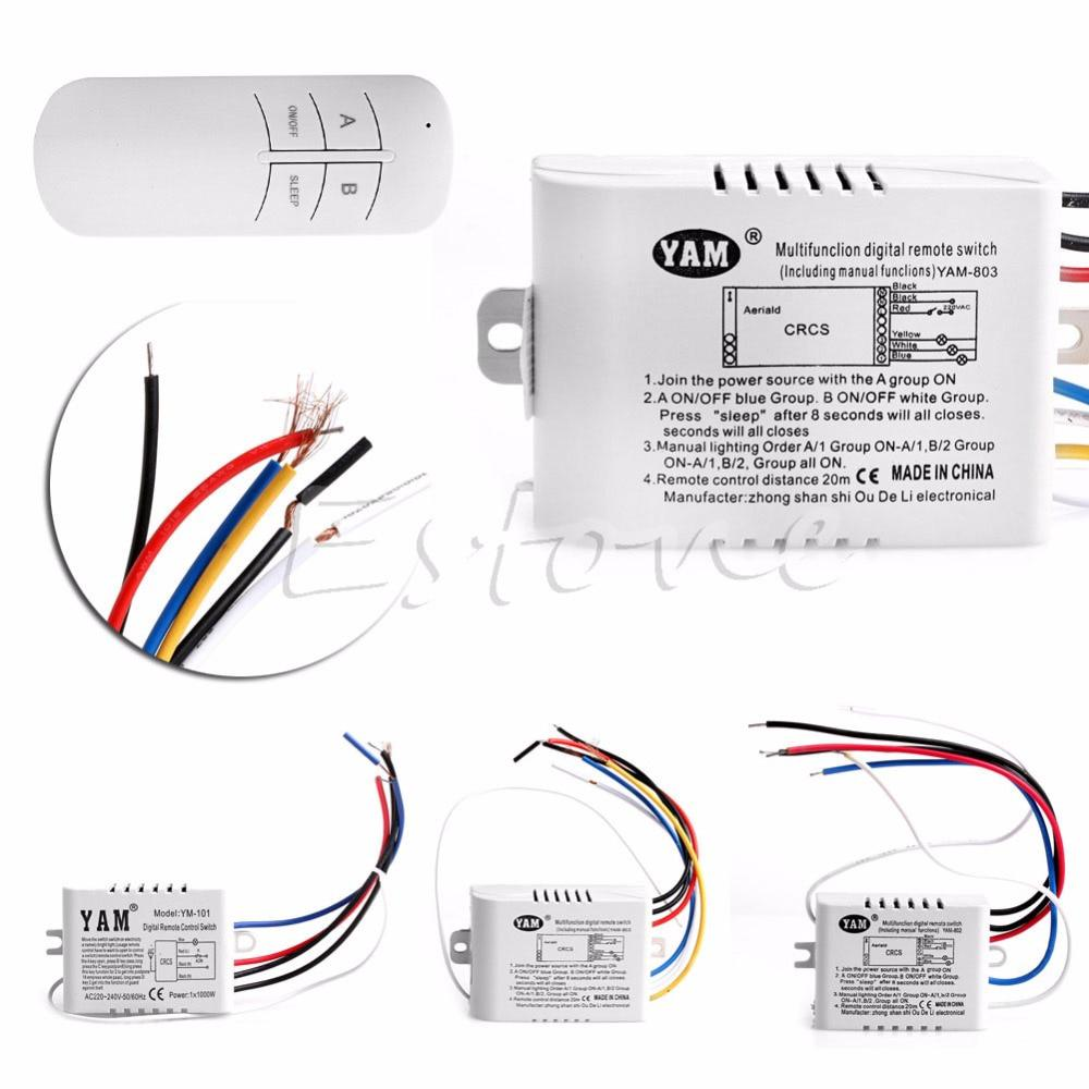 220V 1/2/3 Ways Wireless ON/OFF Lamp Remote Control Switch Receiver