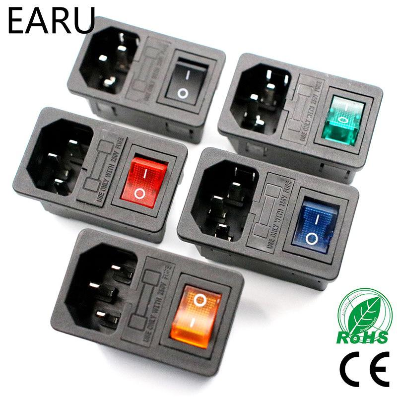 Con 10A Fuse! Red Rocker Switch Fuse IEC320 C14 Inlet