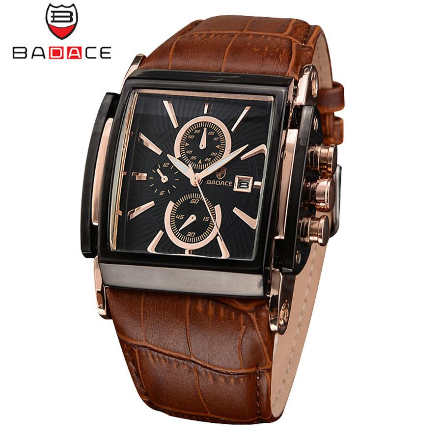 BADACE Brand Leather Strap Mens Watches Hours Casual Square Clock