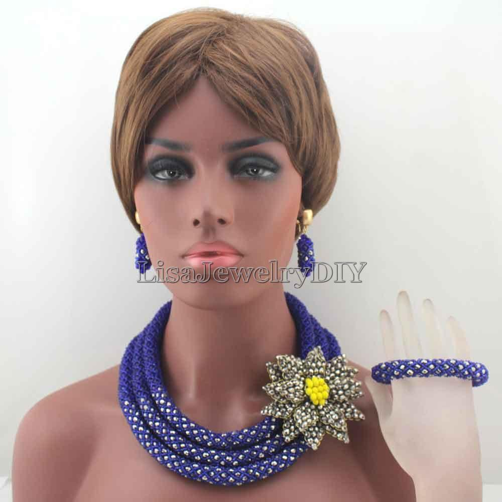 fabulous royal blue nigerian wedding african beads jewelry