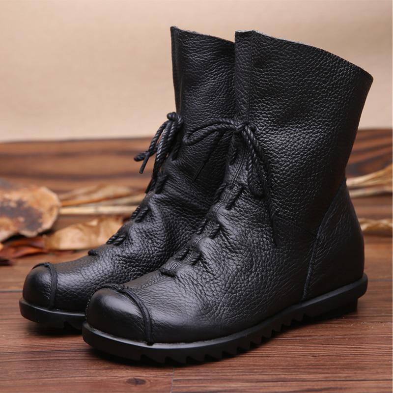 2017 Vintage Style Genuine Leather Women Boots Flat Booties Soft