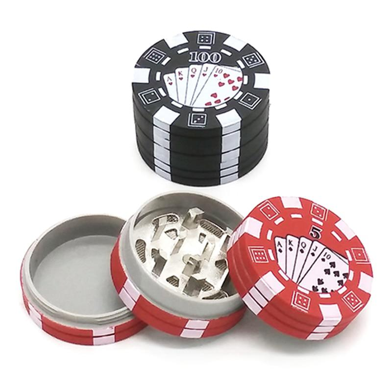 3 Strati Poker Chip Style Herb Erbe Tabacco Grinder Weed