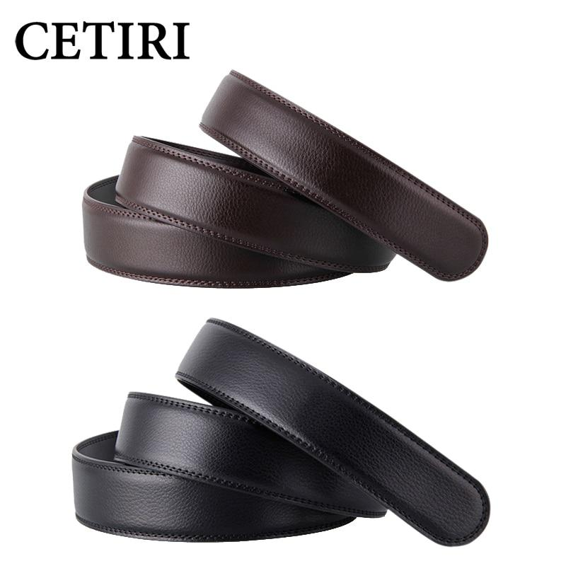 No Buckle 3.5cm Wide Real Genuine Leather Belt Without Automatic