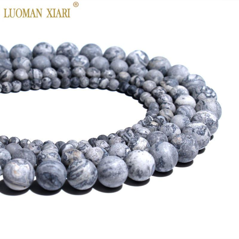 Wholesale Natural Dull Polish Map Matte Stone Beads For Jewelry