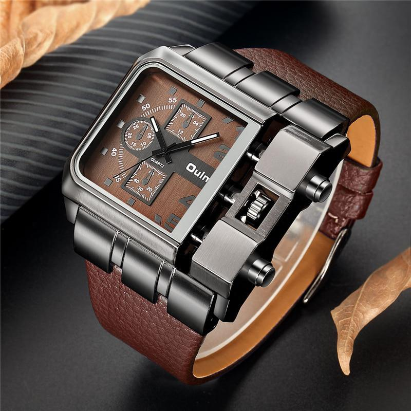 OULM Brand Original Unique Design Square Men Wristwatch Wide Big