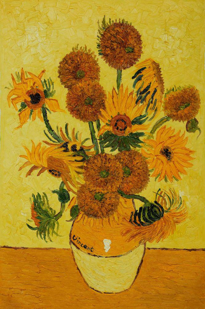 Pricearchive.org & Hand Painted Vincent Van Gogh Flower Oil Painting Reproduction for Kitchen Vase - US $70.51