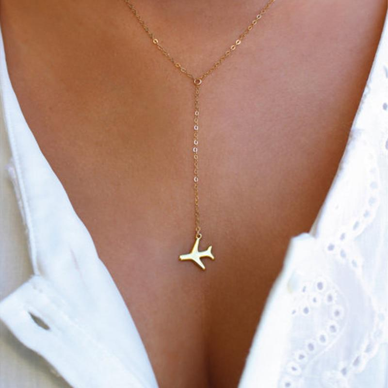 1pcs Gold / Silver Airplane Pendant with 43+5cm Adjustable Chain