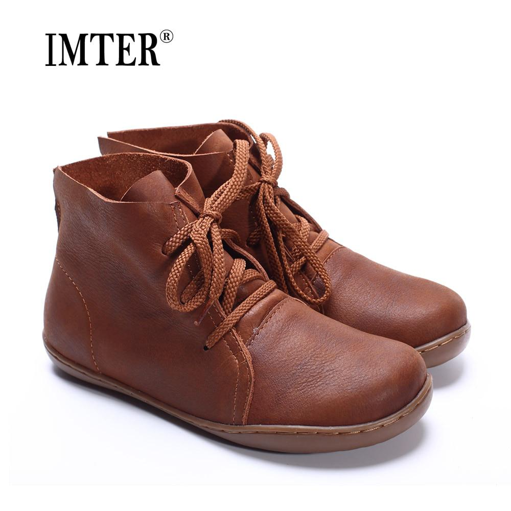 (35-42)Women Ankle Boots Hand-made Genuine Leather Woman Boots Spring Autumn