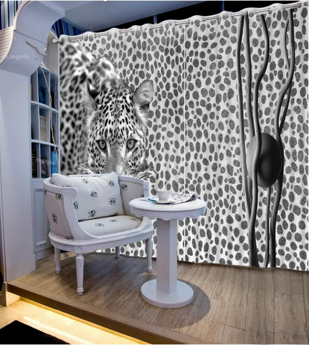 Custom Modern Living Room Curtains Animal Elegant Curtains Decorative Beads Curtains 3d Photo