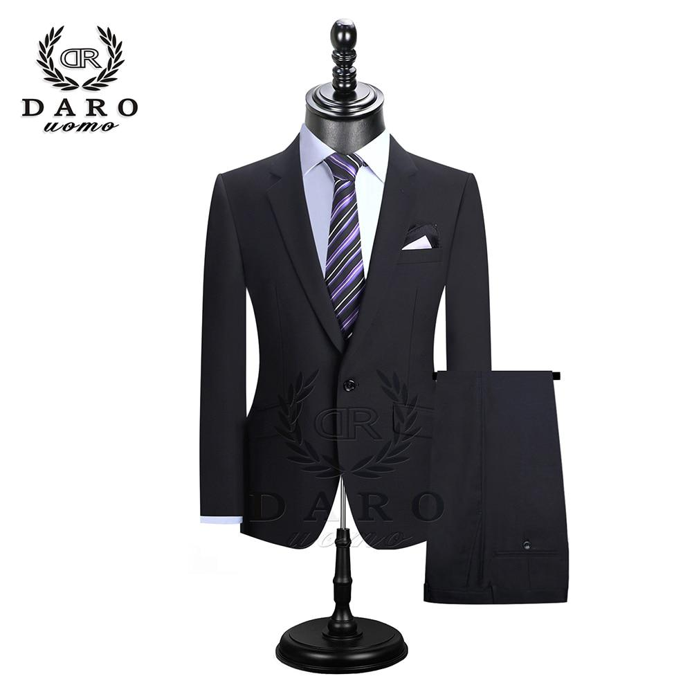 DAROuomo Men Suits Blazer With Pants Slim Fit Casual One