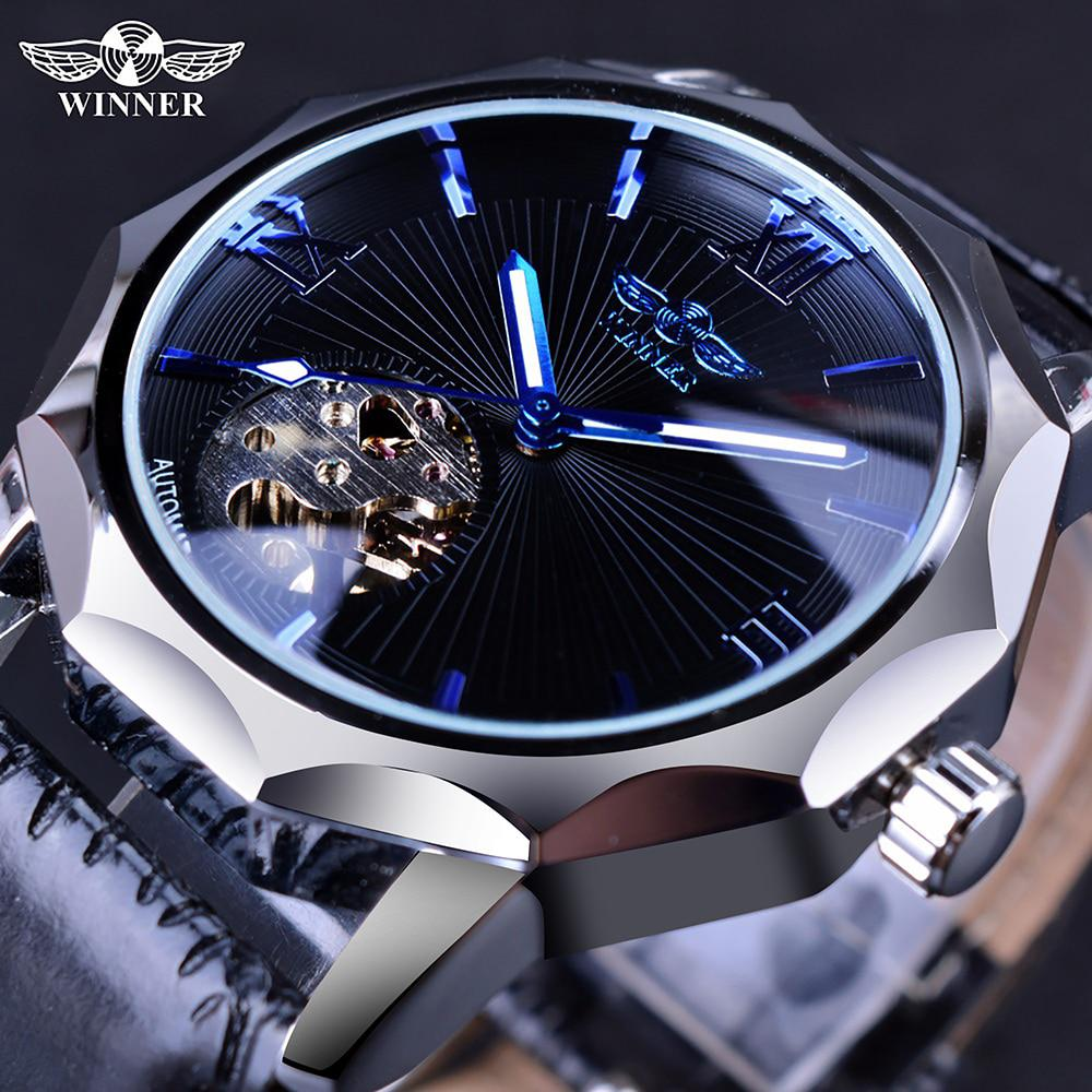 Winner Blue Ocean Geometry Design Transparent Skeleton Dial Men Watch