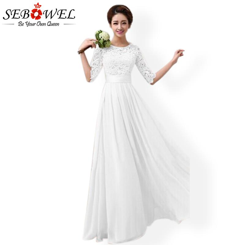 2017 SEBOWEL Long White Lace Dress Women Party Elegant Floral