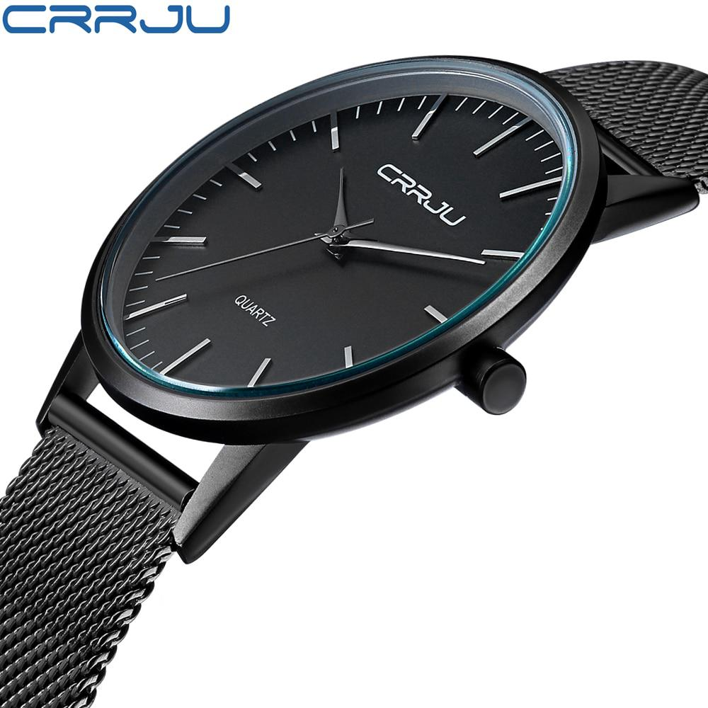 New Fashion Mens Watches Top Brand Luxury CRRJU Men Quartz