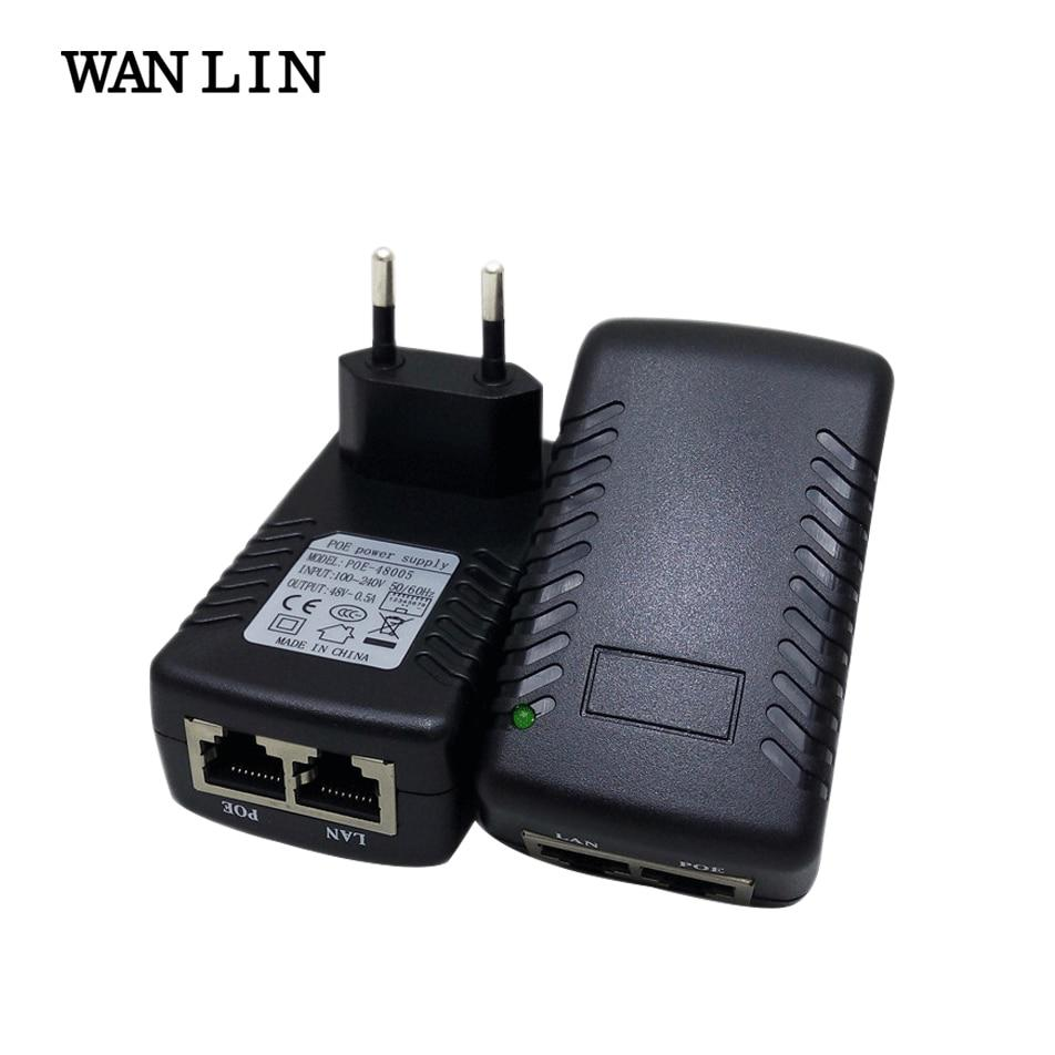 WANLIN Iniettore PoE DC 48 V 0.5A Power over Ethernet