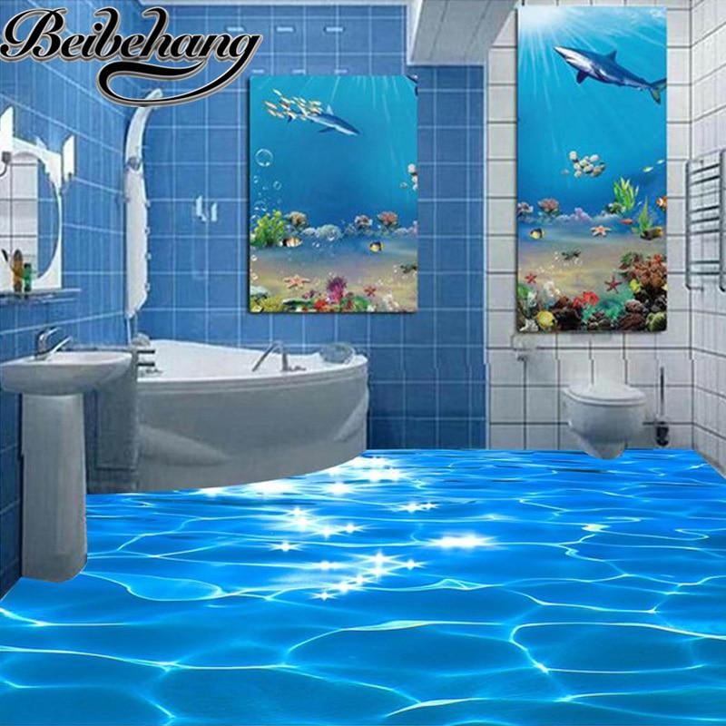 beibehang custom photo floor wallpaper 3d sea water ripples hotel bathroom mural. Black Bedroom Furniture Sets. Home Design Ideas