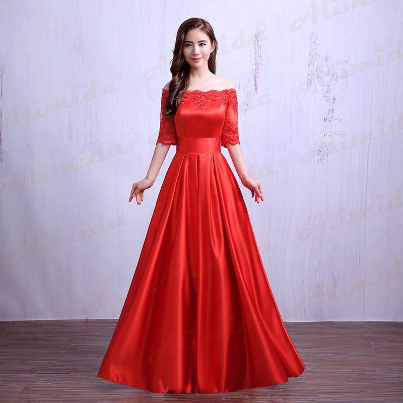 Boat Neck Evening Dress 2018 New Design A Line Wedding Party Dress
