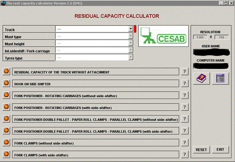 Cesab Residual Capacity Calculator