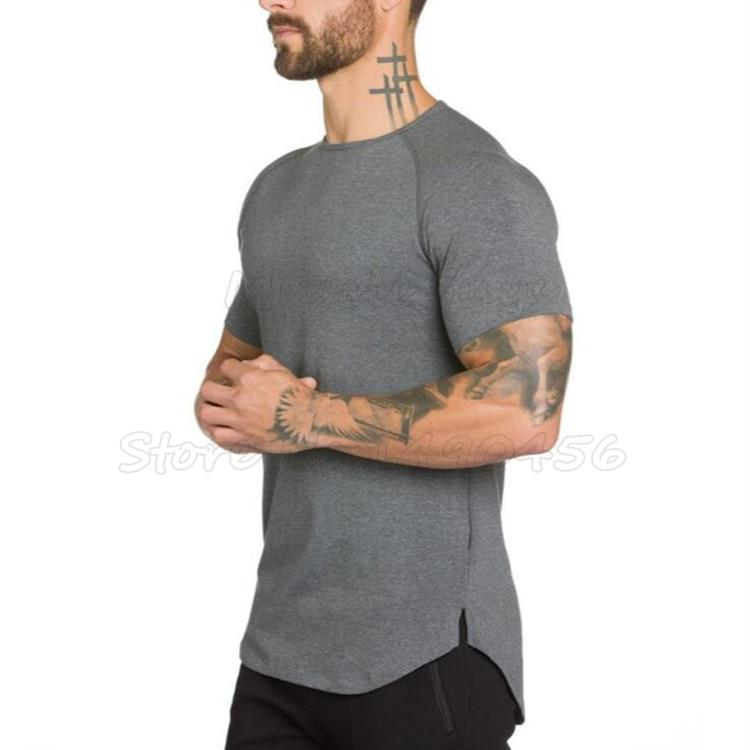 Brand gyms clothing fitness t shirt men fashion extend hip
