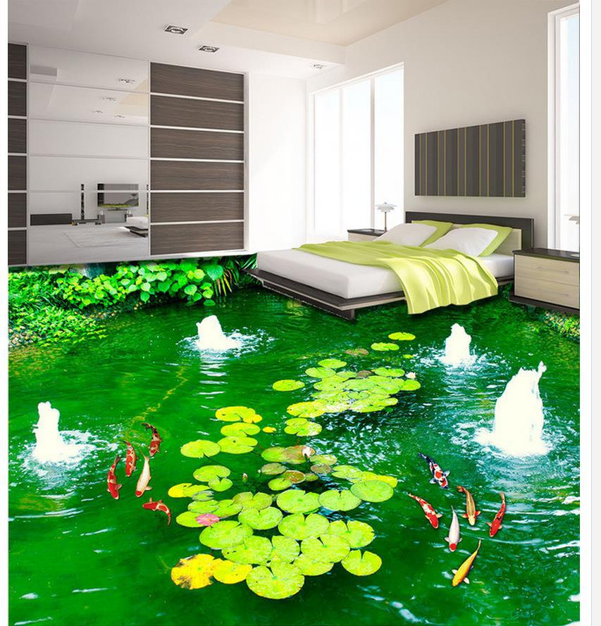3d wallpaper waterproof park fountain lotus carp 3d for 3d wallpaper waterproof