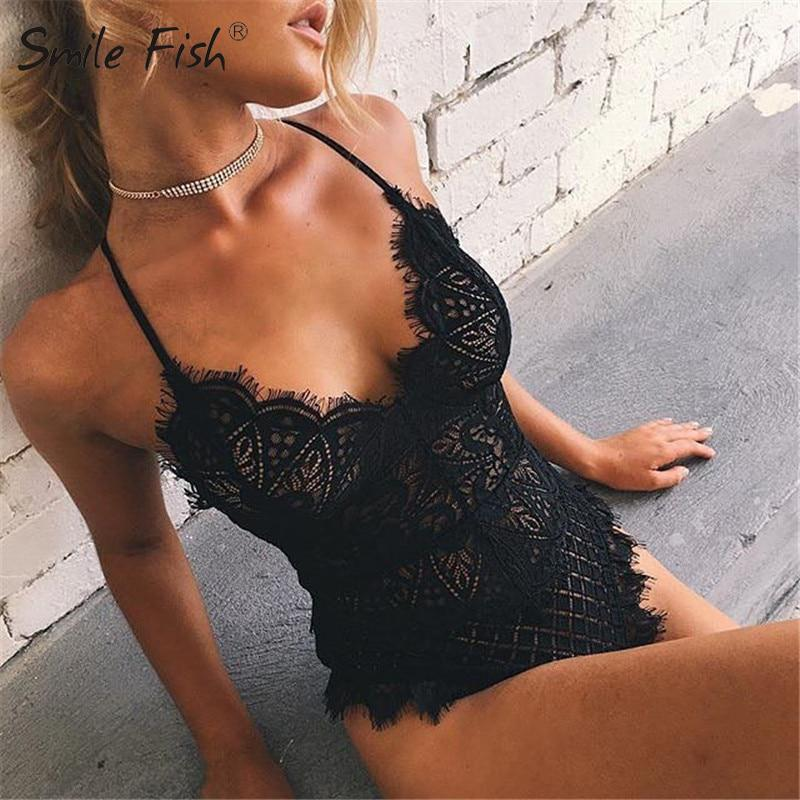 Cut-Out Lace Tute Solid Body Top Pagliaccetto 2017 Donne tute